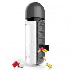 Бутылка с органайзером для таблеток и витаминов 600 мл Pill & Vitamin Organizer Black