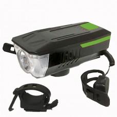 Фонарь аккумуляторный со звонком на велосипед Фара велосипедная (передняя) Bicycle Handlebar Light LY-16 USB CREE T6 Черно-зеленая