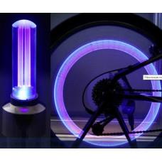 Насадки 2 шт. светодиодные подсветка колеса на ниппель велосипеда, мотоцикла, автомобиля Pink Digital
