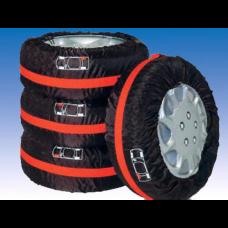 Набор чехлов для хранения шин и колес 4 шт. Чехлы для автомобиля Vitol НЧ-10002 Черно-красные