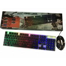 Комплект Клавиатура и мышка с LED подсветкой KEYBOARD Combo Gamer K 01