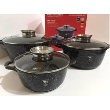 Набор посуды кастрюль с мраморным покрытием Top Kitchen TK21 6 предметов