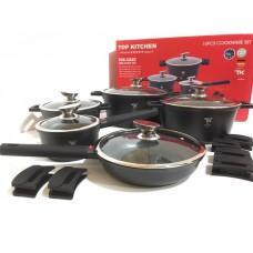 Набор посуды кастрюль с мраморным покрытием Top Kitchen TK23 16 предметов