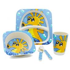 Посуда детская набор из бамбукового волокна 5 предметов Eco Friendly Морской конек