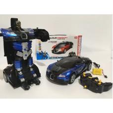 Машинка-трансформер Робот Автобот на радиоуправлении и аккумуляторе Deformation Robot 668 Черно-синяя