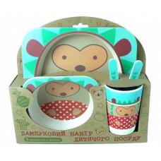 Посуда детская набор из бамбукового волокна 5 предметов Eco Friendly Ежик