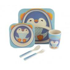 Посуда детская набор из бамбукового волокна 5 предметов Eco Friendly Пингвин 02