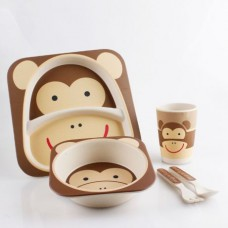 Посуда детская набор из бамбукового волокна 5 предметов Eco Friendly Обезьяна