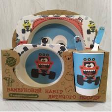 Посуда детская набор из бамбукового волокна 5 предметов Eco Friendly Машинки Monster Truck