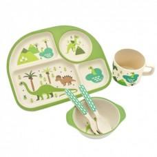 Посуда детская набор из бамбукового волокна 5 предметов Eco Friendly Динозавры