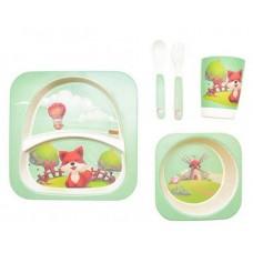 Посуда детская набор из бамбукового волокна 5 предметов Eco Friendly Мельница и Лиса