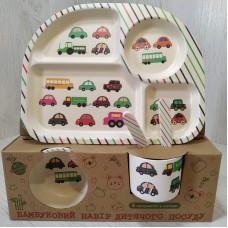 Посуда детская набор из бамбукового волокна 5 предметов Eco Friendly Машинки