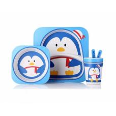 Посуда детская набор из бамбукового волокна 5 предметов Eco Friendly Пингвин