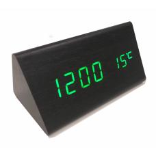 Часы LED сетевые (будильник, градусник, дата) Wooden Clock VST-861 черные с зеленой подсветкой