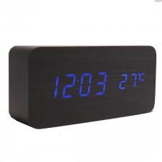 Часы LED сетевые (будильник, градусник, дата) Wooden Clock VST-862 черные с синей подсветкой