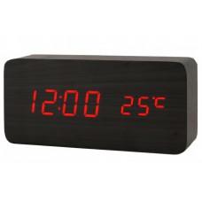 Часы LED сетевые (будильник, градусник, дата) Wooden Clock VST-862 черные с красной подсветкой