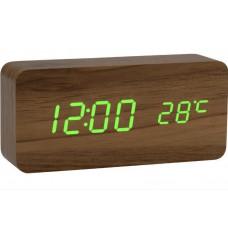 Часы LED сетевые (будильник, градусник, дата) Wooden Clock VST-862 коричневые с зеленой подсветкой