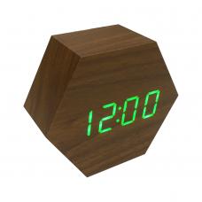 Часы LED сетевые (будильник, градусник, дата) Wooden Clock VST-876 коричневые с зеленой подсветкой