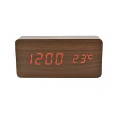 Часы LED сетевые (будильник, градусник, дата) Wooden Clock VST-862 коричневые с красной подсветкой