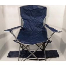 Стул со спинкой и подстаканником размер L в чехле рыбацкий складной для кемпинга, пикника вес до 120 кг Sannen Темно-синий