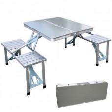 Стол для пикника раскладной складной туристический со стульями алюминиевый Picnic Table 65х85х65 см Стальной