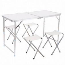 Стол для пикника раскладной с 4 стульями Folding Table 120х70х60 см White