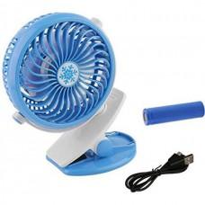 Вентилятор аккумуляторный на прищепке настольный Mini Fan Clip ML-F168 Голубой