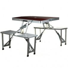 Стол для пикника раскладной складной туристический со стульями алюминиевый Picnic Table 65х85х65 см Коричневый