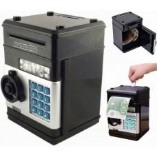 Копилка сейф с кодом кодовым замком для монет и бумажных денег Number Bank Black
