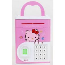 Копилка сейф с отпечатком пальца для монет и бумажных денег детская Hello Kitty