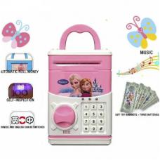 Копилка сейф с кодовым замком для монет и бумажных денег детская Frozen Розовый