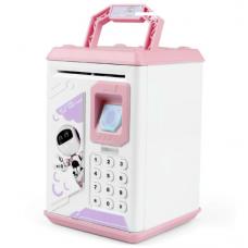 Копилка сейф музыкальная детская с ультрафиолетом, кодовым замком и отпечатком пальца Robot BODYGUARD Розовый