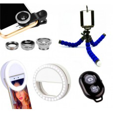 Набор блогера 4в1: Штатив для телефона, Bluetooth кнопка, Селфи кольцо USB, Набор линз для телефона WOW