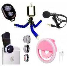 Набор блогера 5в1: Штатив для телефона, Bluetooth кнопка, Селфи кольцо USB, Набор линз для телефона, микрофон WOW Kombi
