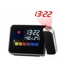 Часы-метеостанция с проектором времени и будильником Сolor Screen Calendar Black