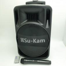 Акустическая система комбик 2 радио микрофона беспроводная аккумуляторная колонка USB FM Su-Kam BT-100D Black