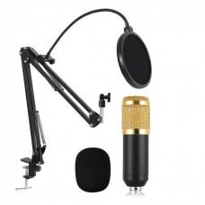 Микрофон студийный конденсаторный Music D.J. M-800U со стойкой и ветрозащитой Черно-золотой