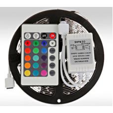 Светодиодная лента влагозащищенная 3528 с контроллером, ДУ и БП SMD RGB 5 м (RGB-3528-1)
