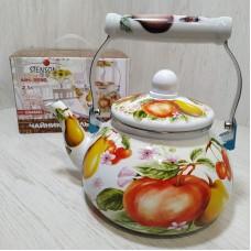 Чайник эмалированный 2,1 л со свистком Stenson MH-3590 Фрукты