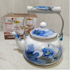 Чайник эмалированный 2,1 л со свистком Stenson MH-3590 Бело-голубой