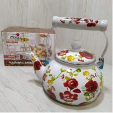 Чайник эмалированный 2,1 л со свистком Stenson MH-3590 Бело-красный