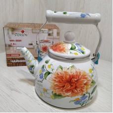 Чайник эмалированный 2,8 л со свистком Stenson MH-3591 Цветы