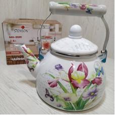Чайник эмалированный 2,8 л со свистком Stenson MH-3591 Цветочный принт