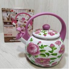 Чайник эмалированный 2,2 л со свистком Stenson MH-3592 Цветочный принт