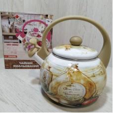 Чайник эмалированный 2,2 л со свистком Stenson MH-3592 Кухонная тематика