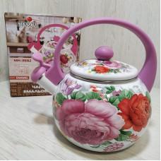 Чайник эмалированный 2,2 л со свистком Stenson MH-3592 Цветы