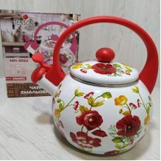 Чайник эмалированный 2,2 л со свистком Stenson MH-3592 Цветочный декор