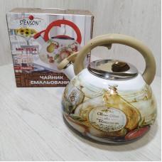 Чайник эмалированный 3 л со свистком Stenson MH-3594 Кухонная тематика