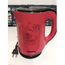 Чайник электрический из нержавеющей стали и пластика дисковый 2,5 л 1500 Вт электрочайник RAINBERG RB-903 Red