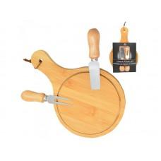 Набор ножей для сыра с разделочной бамбуковой доской Stenson TL-00151